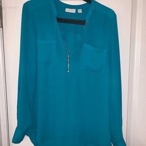 Turquoise long sleeve blouse